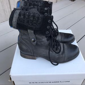 STEVE MADDEN Black Leather Cablee Boots